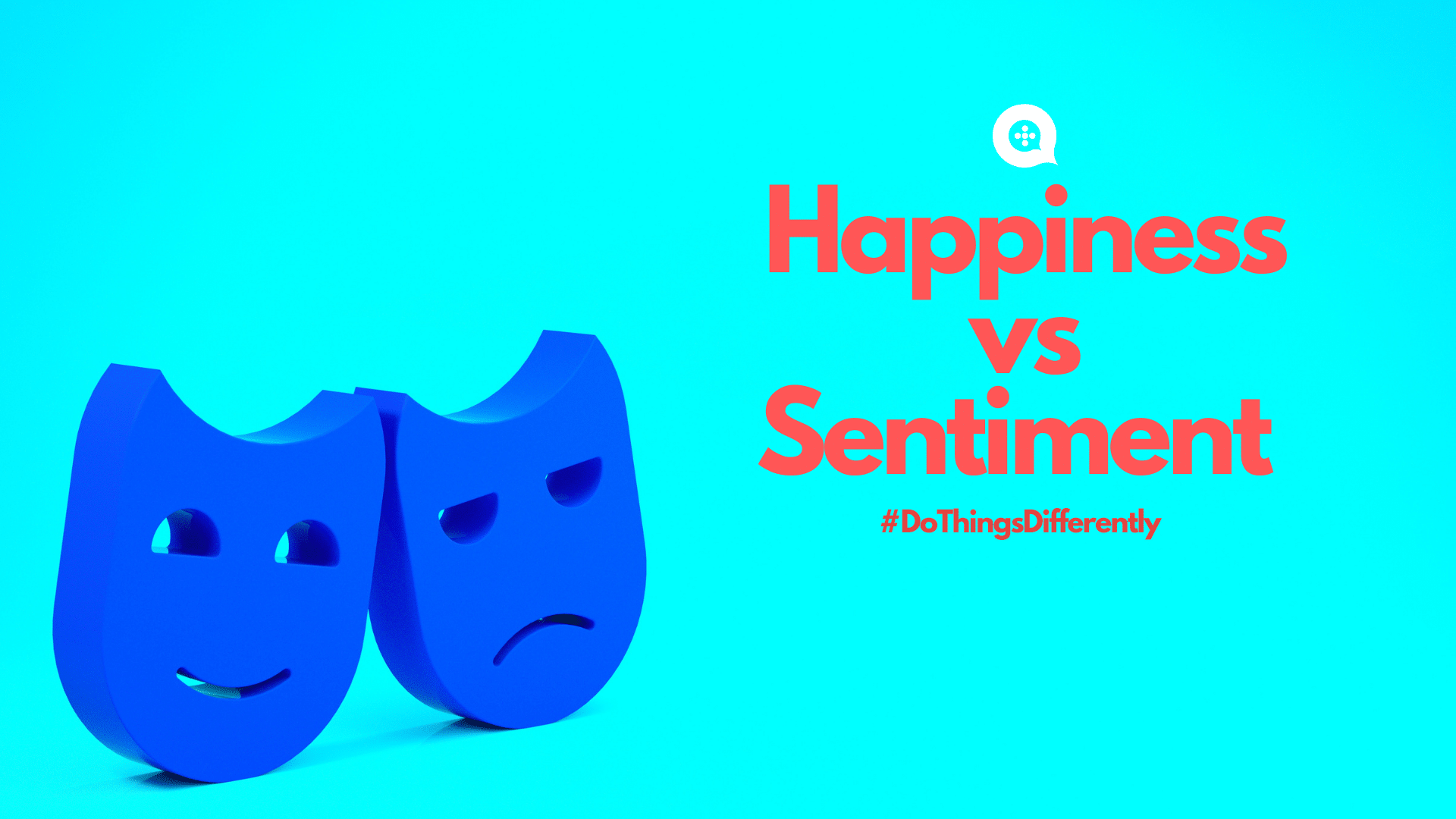 One happy face one sad face on blue background